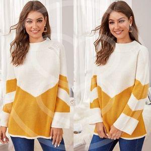 JAXXIE Color Block Knit Sweater